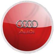 Audi - 3d Badge On Red Round Beach Towel