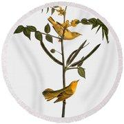 Audubon: Warbler, 1827-38 Round Beach Towel