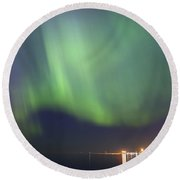 Aurora Borealis Northern Lights Over City Of Tallinn North Europe Round Beach Towel