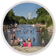 Austinites Love To Lounge In The Refreshing Waters Of Barton Springs Pool To Beat The Sizzling Texas Summer Heat Round Beach Towel