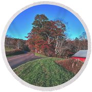 Autumn Countryside - North Carolina Round Beach Towel