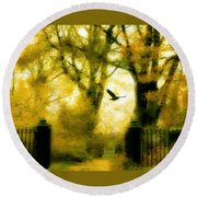 Autumn Graveyard Round Beach Towel