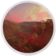 Autumn In The Rolling Hills Round Beach Towel