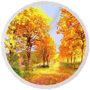 Autumn In Tuscany Round Beach Towel