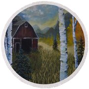 Autumn Red Barn  Round Beach Towel