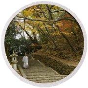 Autumn Stairway Round Beach Towel