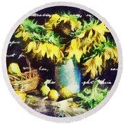 Autumn Sunflowers Round Beach Towel