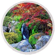 Autumn Waterfall - Digital Art 5x3 Round Beach Towel