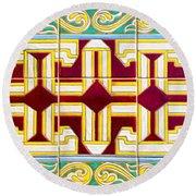 Azulejo - Geometrical Decoration  3 Round Beach Towel