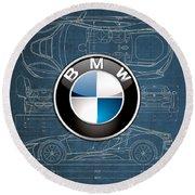 B M W 3 D Badge Over B M W I8 Blueprint  Round Beach Towel