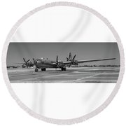 B29 Superfortress Taxiing At Modesto Round Beach Towel