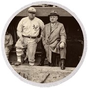 Babe Ruth And John Mcgraw Round Beach Towel