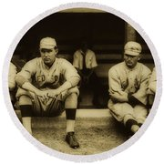 Babe Ruth On Far Left With The Boston Red Sox 1915 Round Beach Towel