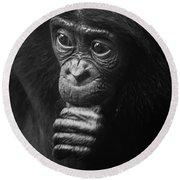 Baby Bonobo Portrait Round Beach Towel