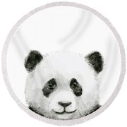 Baby Panda Watercolor Round Beach Towel
