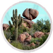 Balancing Act In The Arizona Desert 2 Round Beach Towel