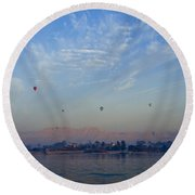 Ballooning Over The Nile Round Beach Towel