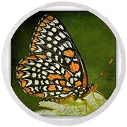 Baltimore Checkerspot Round Beach Towel
