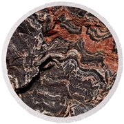 Banded Gneiss Rock Round Beach Towel