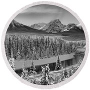 Banff Bow River Black And White Round Beach Towel