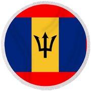 Barbados Flag Round Beach Towel