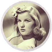 Barbara Bel Geddes, Vintage Actress Round Beach Towel