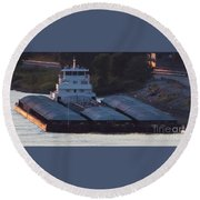 Barge On Mississippi River Round Beach Towel