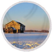Barn Late Afternoon Round Beach Towel