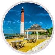 Barnegat Lighthouse Park Round Beach Towel