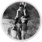 Barry Sadler With Sons And Family Collie Tucson Arizona 1971 Round Beach Towel