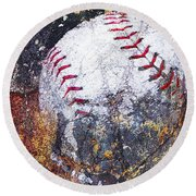 Baseball Art Version 6 Round Beach Towel