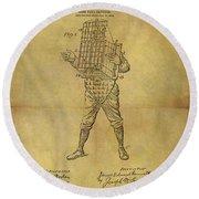Baseball Catcher's Mask Patent Round Beach Towel
