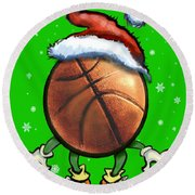 Basketball Christmas Round Beach Towel