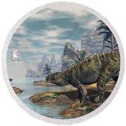 Batrachotomus Dinosaurs -3d Render Round Beach Towel