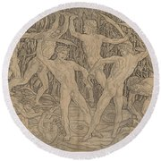 Battle Of The Nudes Round Beach Towel