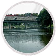 Bavarian Covered Bridge Round Beach Towel