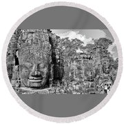Bayon Faces  Round Beach Towel