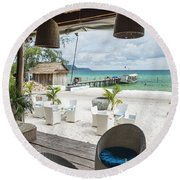 Beach Bar In Sok San Area Of Koh Rong Island Cambodia Round Beach Towel
