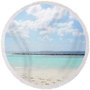 Beach On An Island In The Maldives With Turquoise Water Round Beach Towel