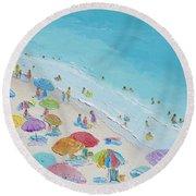 Beach Painting - Summer Love Round Beach Towel