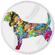 Beagle-colorful Round Beach Towel