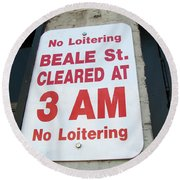 Beale Street Sign Round Beach Towel