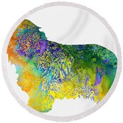 Bearder Collie-colorful Round Beach Towel