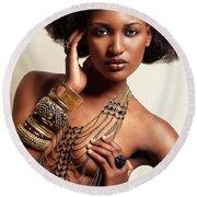Beautiful African American Woman Wearing Jewelry Round Beach Towel