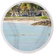 Beautiful Beach And Ocean Scenes In Florida Keys Round Beach Towel