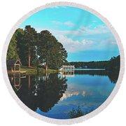 Beautiful Bunn Lake - Zebulon, North Carolina Round Beach Towel