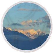 Beautiful Countryside Of The Italian Mountains With A Cloudy Sky Round Beach Towel