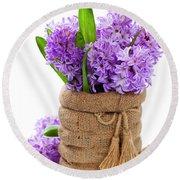 Beautiful Hyacinths Round Beach Towel