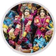 Beautiful Image Of Krishna And Radhe From Boise Hare Krishna Temple Round Beach Towel