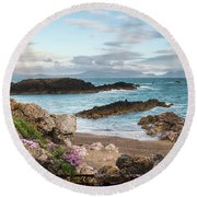 Beautiful Landscape Image Of Rocky Beach With Snowdonia Mountain Round Beach Towel